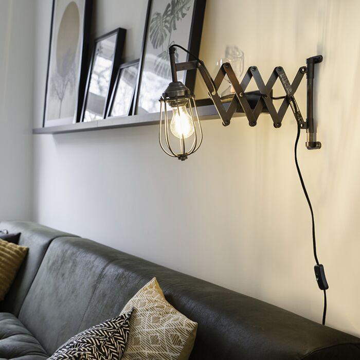 Industriële-wandlamp-zwart-verstelbaar---Scissors-Cage