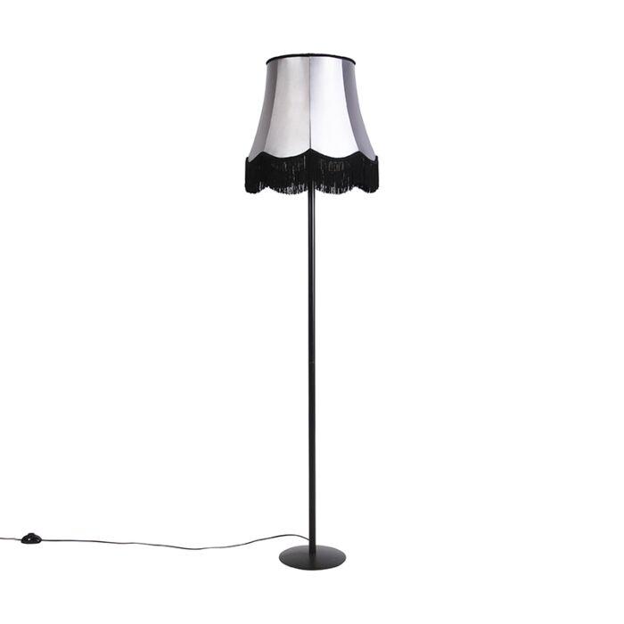 Retro-vloerlamp-zwart-Granny-kap-zwart-met-grijs-45-cm---Simplo