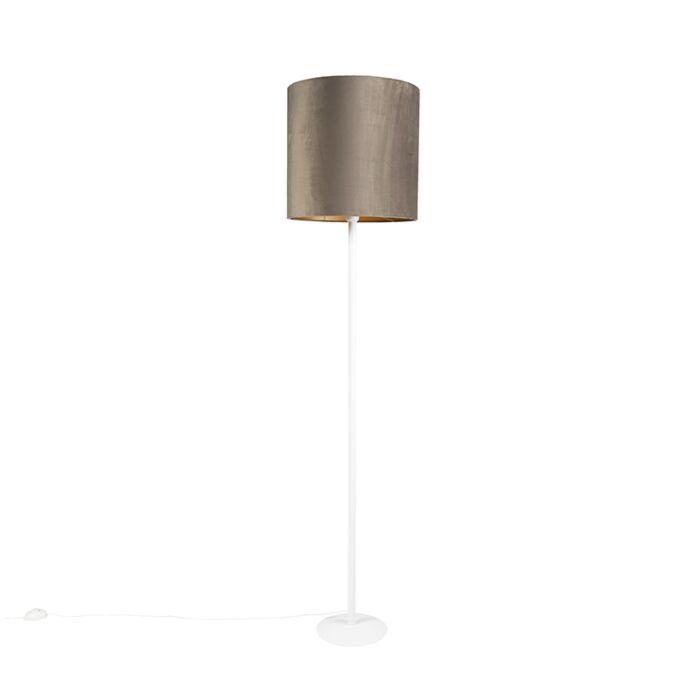 Voerlamp-wit-met-taupe-kap-en-gouden-binnenkant-40-cm---Simplo