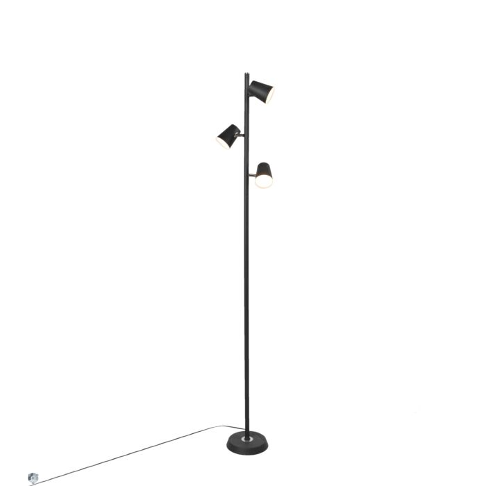 Moderne-vloerlamp-zwart-3-lichts-incl.-LED-dimbaar---Coupe