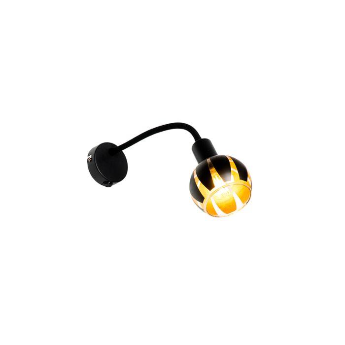 Design-wandlamp-zwart-met-goud-met-flexarm---Melone