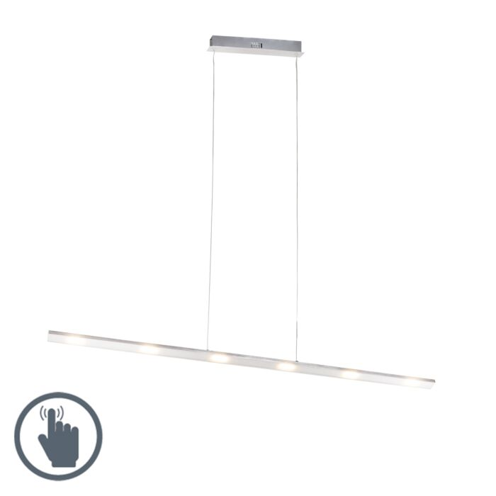 Design-hanglamp-staal-met-touch-dimmer-incl.-LED---Platina
