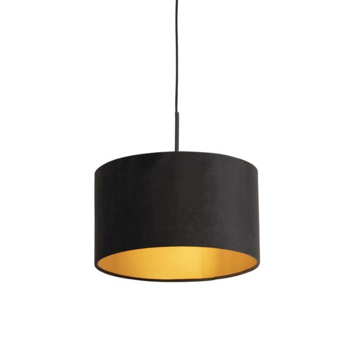 Hanglamp-met-velours-kap-zwart-met-goud-35-cm---Combi