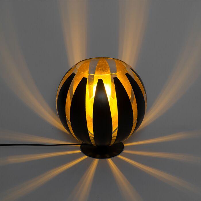 Design-tafellamp-zwart-met-goud-30-cm---Melone