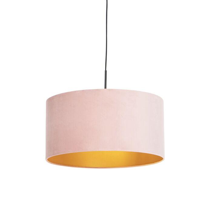 Hanglamp-met-velours-kap-roze-met-goud-50-cm---Combi