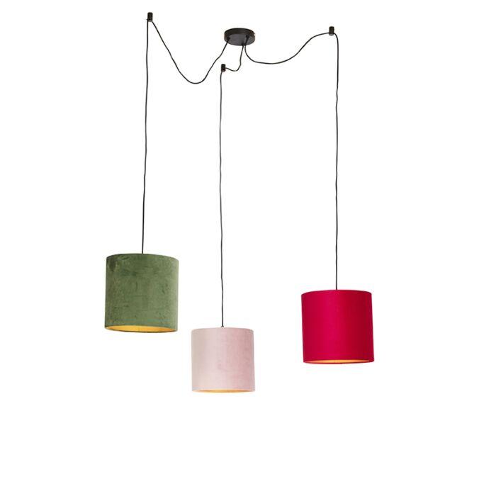 Hanglamp-met-velours-kappen-rood,-groen-en-roze---Cava