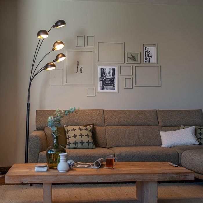 Design-vloerlamp-zwart-5-lichts---Sixties