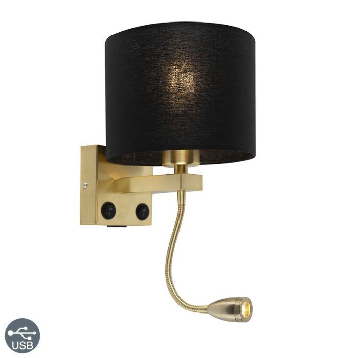 Art-deco-wandlamp-goud-met-USB-en-zwarte-kap---Brescia