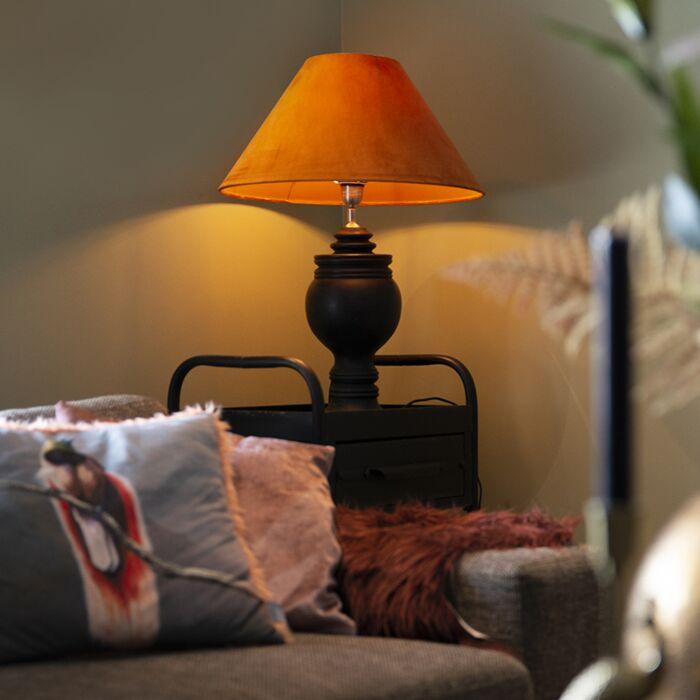Landelijke-tafellamp-zwart-met-oranje-kap-velours---Sage