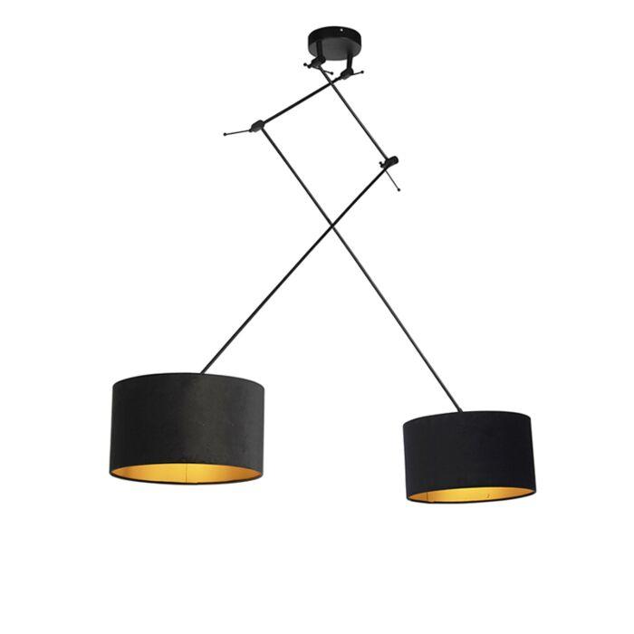 Hanglamp-met-velours-kappen-zwart-met-goud-35-cm---Blitz-II-zwart