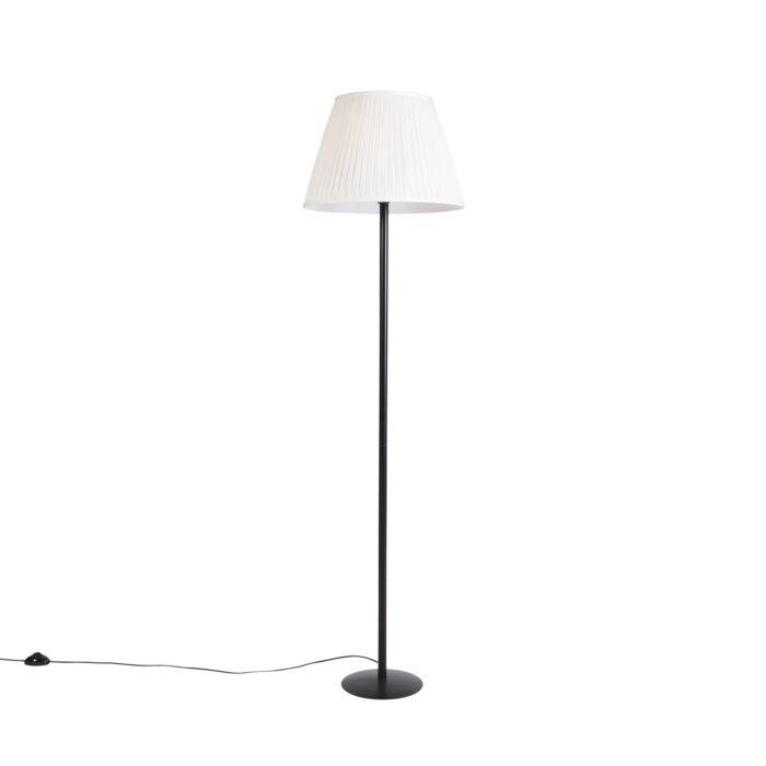 Moderne-vloerlamp-zwart-met-witte-plisse-kap-45-cm---Simplo