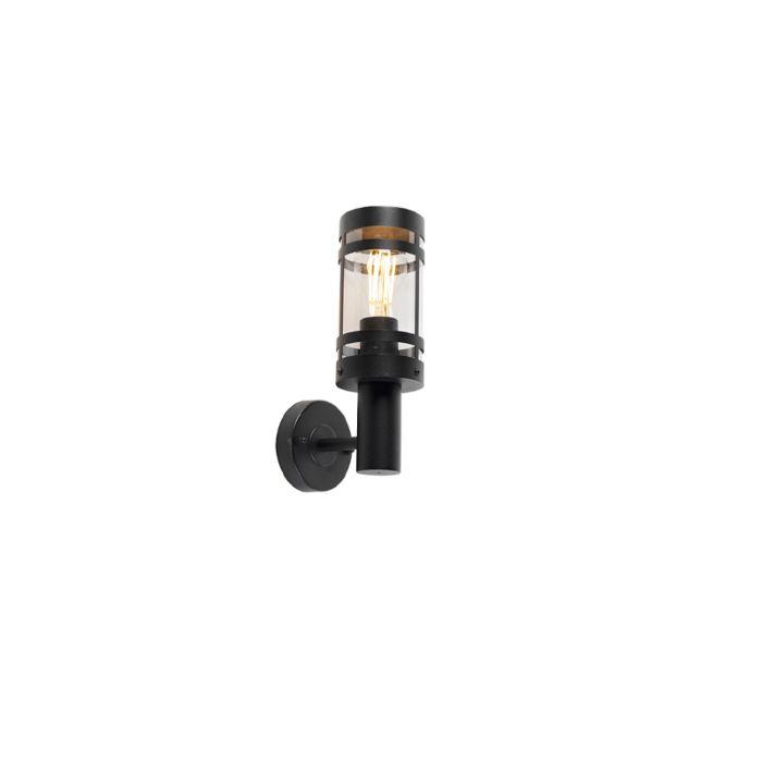 Moderne-buitenwandlamp-zwart-IP44---Gleam