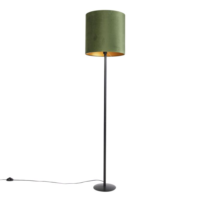 Botanische-vloerlamp-zwart-met-groene-kap-40-cm---Simplo