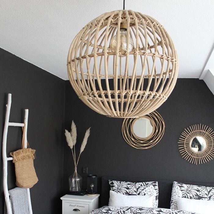 Landelijke-hanglamp-bamboe---Cane-Ball-60