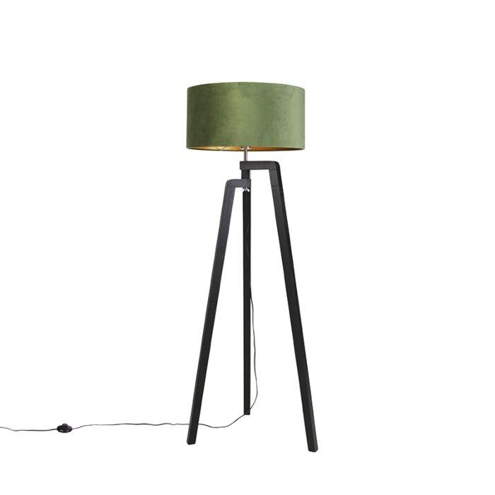 Vloerlamp-tripod-zwart-met-groene-kap-en-goud-50-cm---Puros