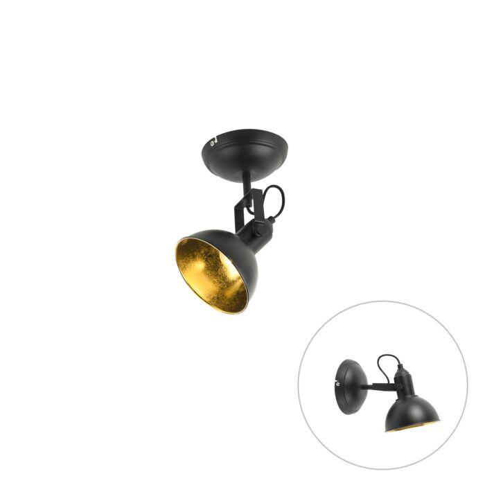 Spot-zwart-met-goud-1-lichts-draai--en-kantelbaar---Tommy