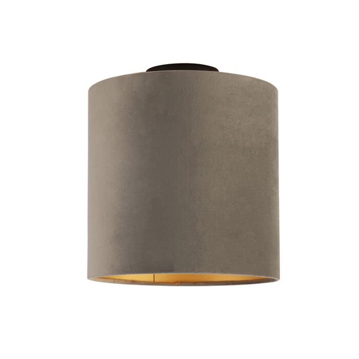 Plafondlamp-met-velours-kap-taupe-met-goud-25-cm---Combi-zwart