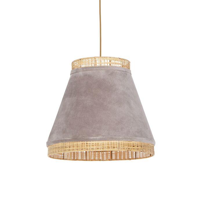Landelijke-hanglamp-beige-velours-met-riet-45-cm---Frills-Can