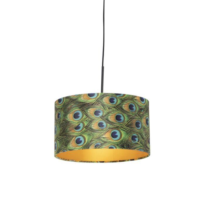 Hanglamp-met-velours-kap-pauw-met-goud-35-cm---Combi