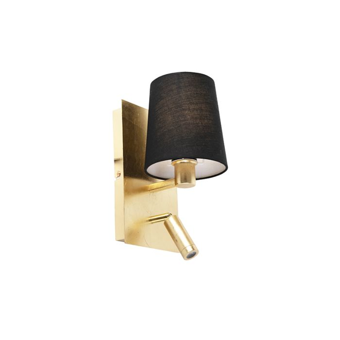 Design-wandlamp-goud-met-zwarte-kap-incl.-LED---Merlot