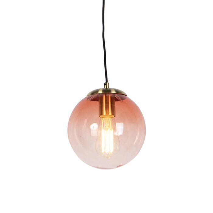 Art-deco-hanglamp-messing-met-roze-glas-20-cm---Pallon