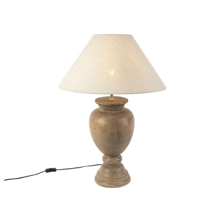 Landelijke-tafellamp-met-linnen-kap-beige-55-cm---Clover