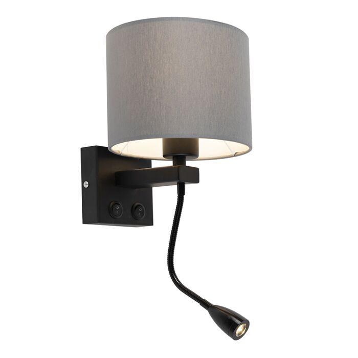Moderne-wandlamp-zwart-met-grijze-kap---Brescia