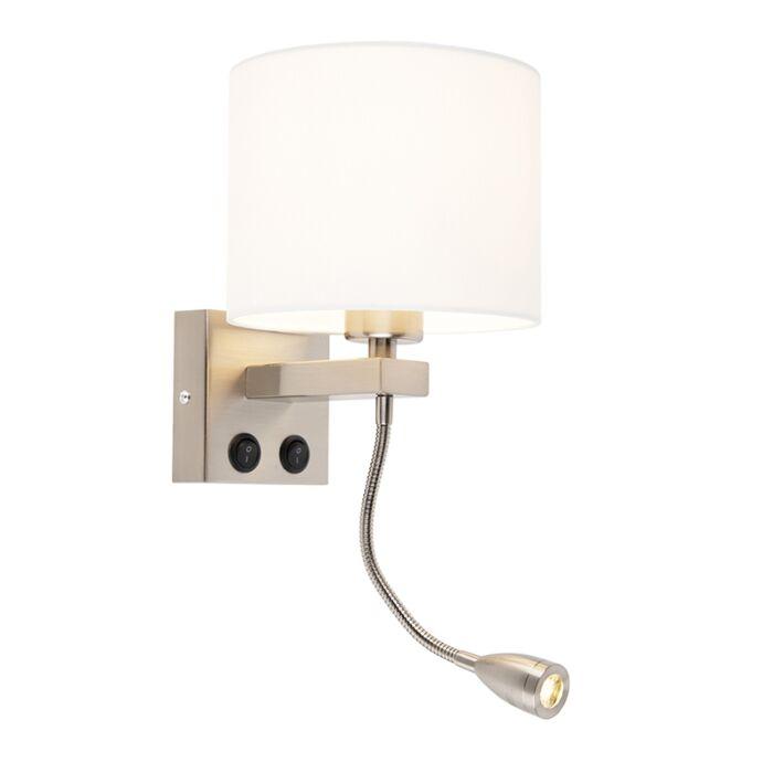 Moderne-wandlamp-staal-met-witte-kap---Brescia