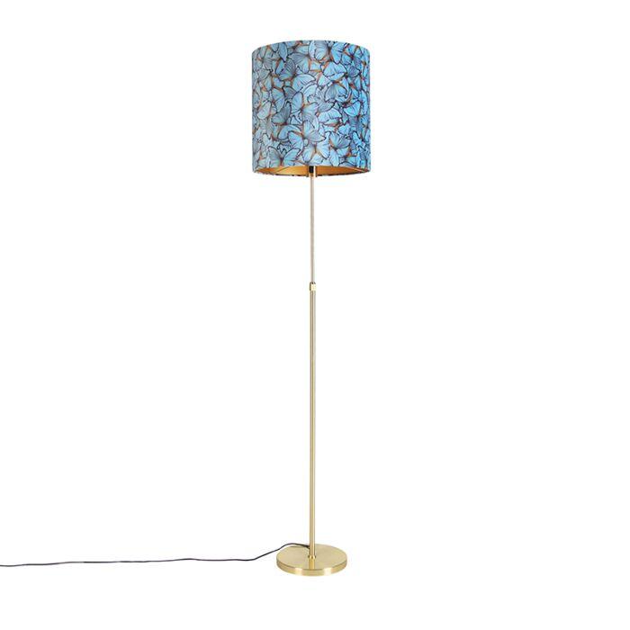 Vloerlamp-goud/messing-met-velours-kap-vlinders-40/40-cm---Parte
