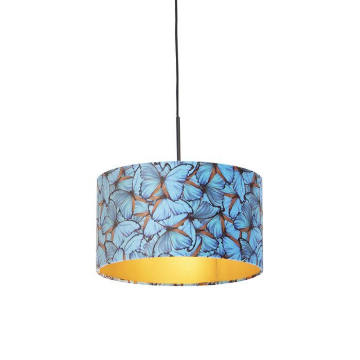 Hanglamp-met-velours-kap-vlinders-met-goud-35-cm---Combi