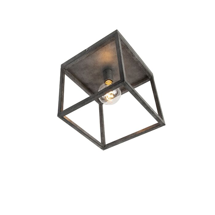 Moderne-plafondlamp-antiek-zilver---Big-Cage