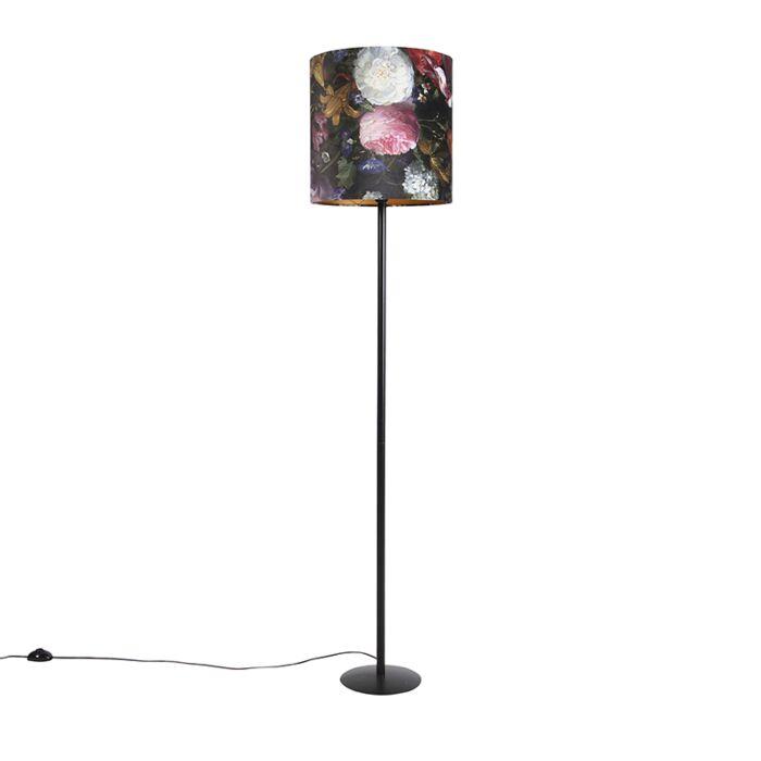 Vloerlamp-zwart-met-velours-kap-bloemen-dessin-40-cm---Simplo