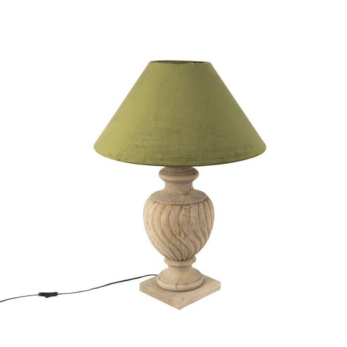 Landelijke-tafellamp-met-velours-kap-mosgroen-55-cm---Tansy