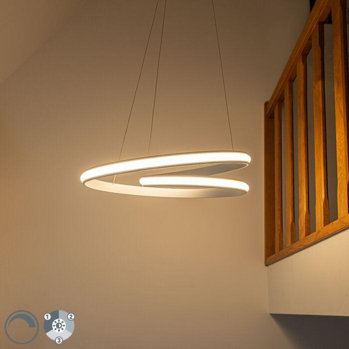 Moderne-hanglamp-wit-55cm-incl.-LED-3-staps-dimbaar---Rowan