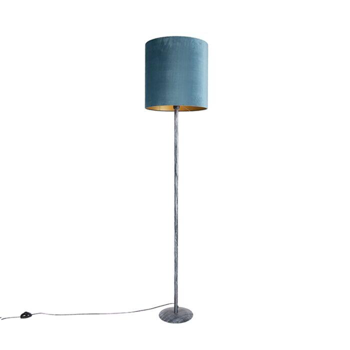 Vloerlamp-antiek-grijs-velours-kap-blauw-40-cm---Simplo