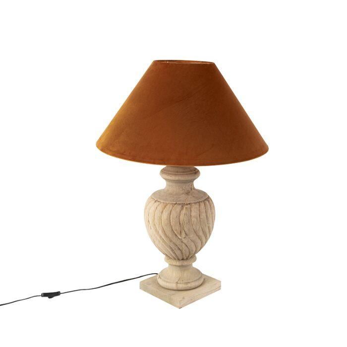 Landelijke-tafellamp-met-velours-kap-pumpkin-spice-55-cm---Tansy