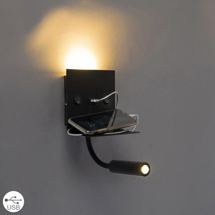 Moderne-wandlamp-USB-zwart-met-flexarm---Duppio