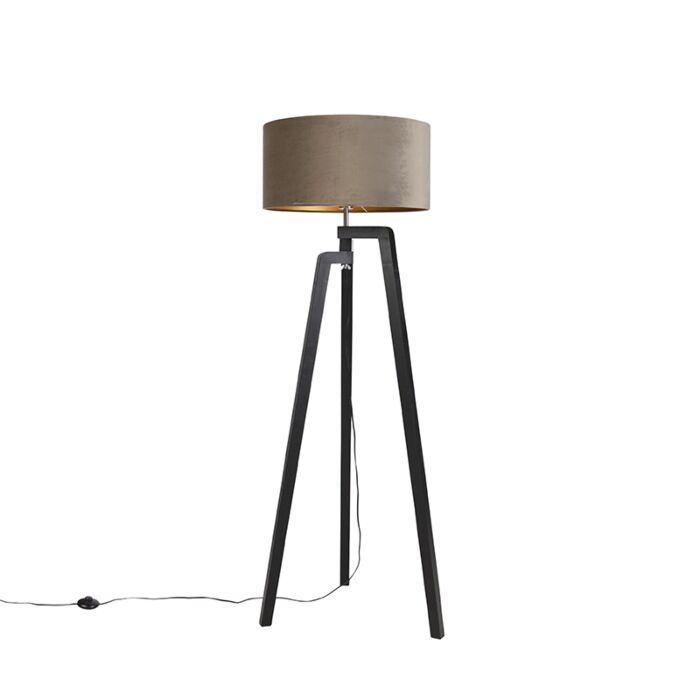 Vloerlamp-tripod-zwart-met-taupe-kap-en-goud-50-cm---Puros