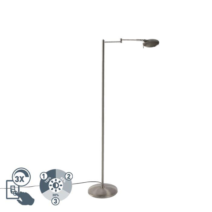 Moderne-zwenkbare-leeslamp-staal-incl.-LED-en-dimmer---Kazam