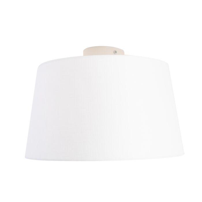Plafondlamp-met-linnen-kap-wit-35-cm---Combi-wit