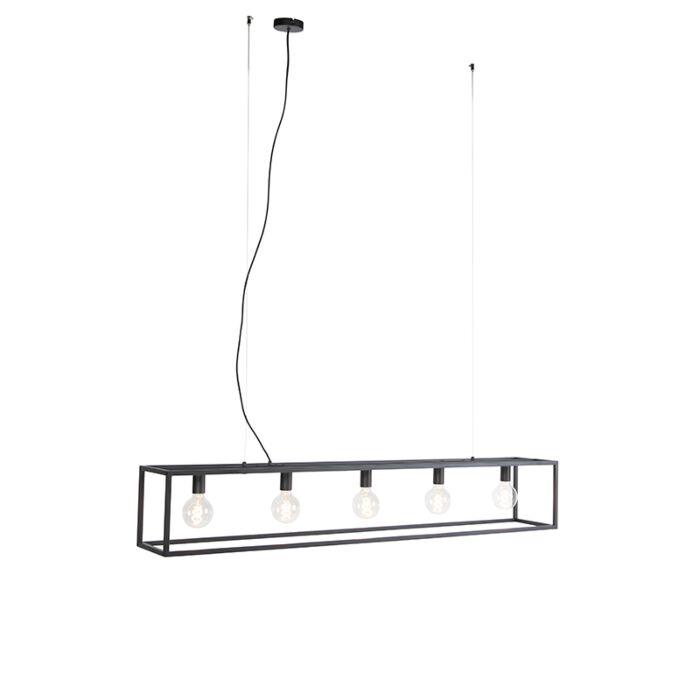 Moderne-rechthoekige-hanglamp-zwart-5-lichts---Cage