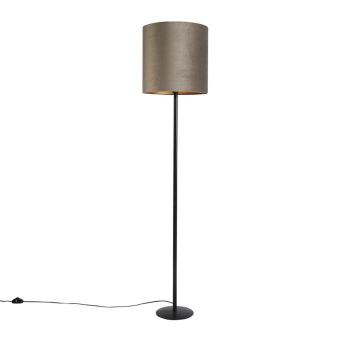 Vloerlamp-zwart-met-velours-kap-taupe-en-goud-40-cm---Simplo
