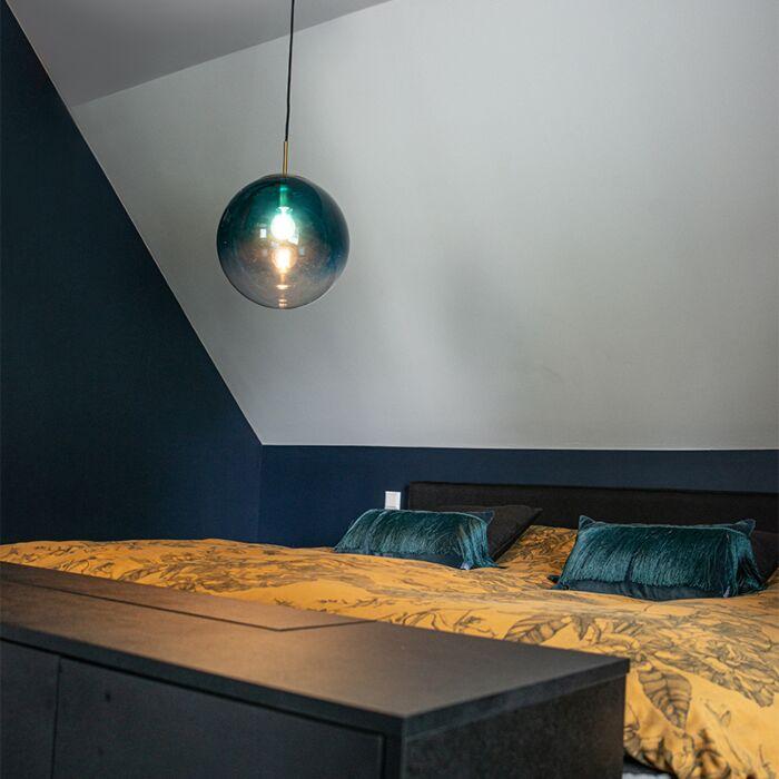 Art-Deco-hanglamp-messing-met-oceaanblauw-glas-33-cm---Pallon