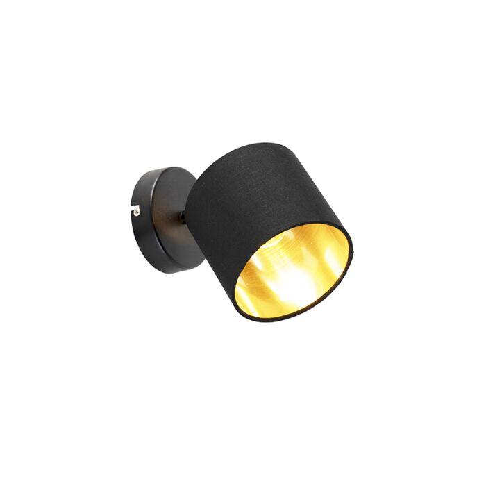 Moderne-wandlamp-zwarte-kap-met-gouden-binnenkant---Tomas