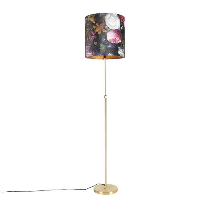 Vloerlamp-goud/messing-met-velours-kap-bloemen-40/40-cm---Parte