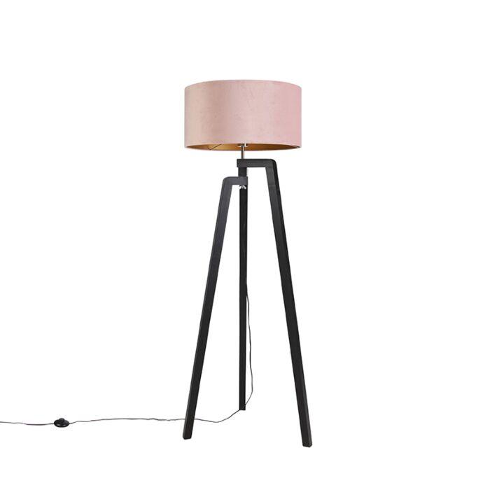 Vloerlamp-tripod-zwart-met-roze-kap-en-goud-50-cm---Puros