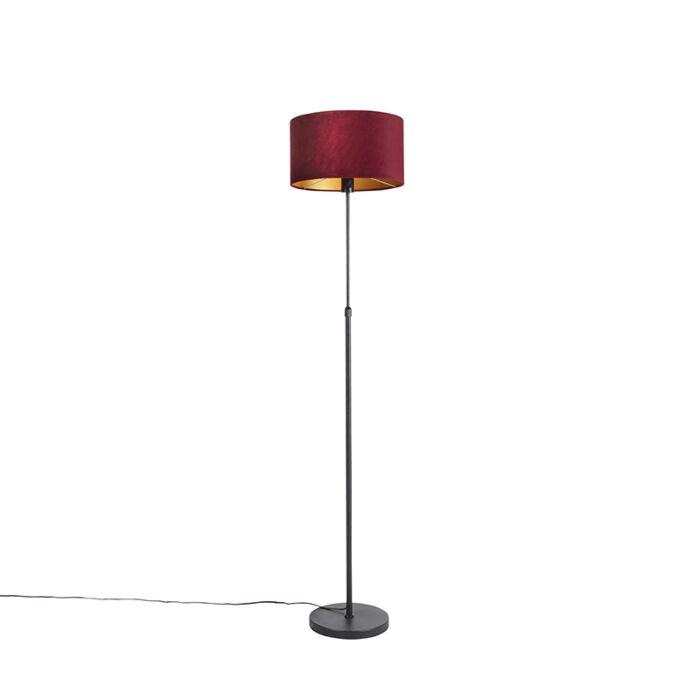 Vloerlamp-zwart-met-velours-kap-rood-met-goud-35-cm---Parte