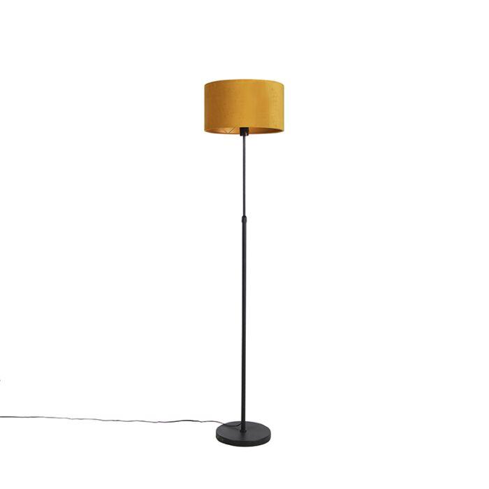 Vloerlamp-zwart-met-velours-kap-okergele-met-goud-35-cm---Parte