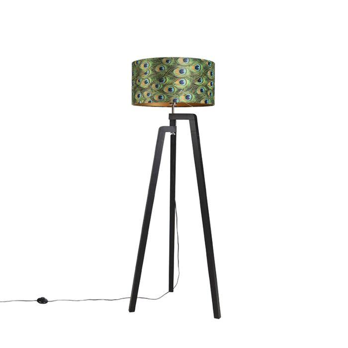 Vloerlamp-tripod-zwart-met-kap-pauw-dessin-50-cm---Puros