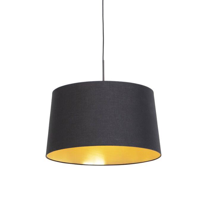 Hanglamp-met-katoenen-kap-zwart-met-goud-50-cm---Combi